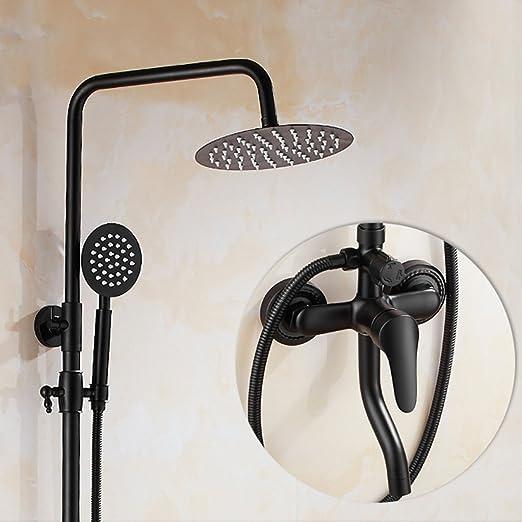 LJ Juego de ducha de estilo europeo Negro retro completo de cobre ...