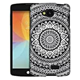 LG Optimus F60 Case, Slim Fit Snap On Cover by Trek White Circle Mandala Clear Case