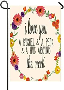 AnleyGardeflagsU I Love You A Bushel A Peck A Hug Around The Neck Garden Flag for Garden Decorations Party Supplies