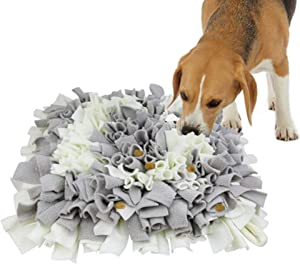 Pet Snuffle Mat for Dogs, Interactive Dog Toys, Pet Snuffle Mat for Dogs Bowl Travel Use, Activity Fun Play Mat for Relieve Stress Restlessness (Gray/White)
