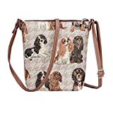 Signare Women's Tapestry Lightweight Top Zip Cross body Bag with Adjustable Strap Sling Bag with Cavalier King Charles Spaniel Dog (SLING -KGCS)