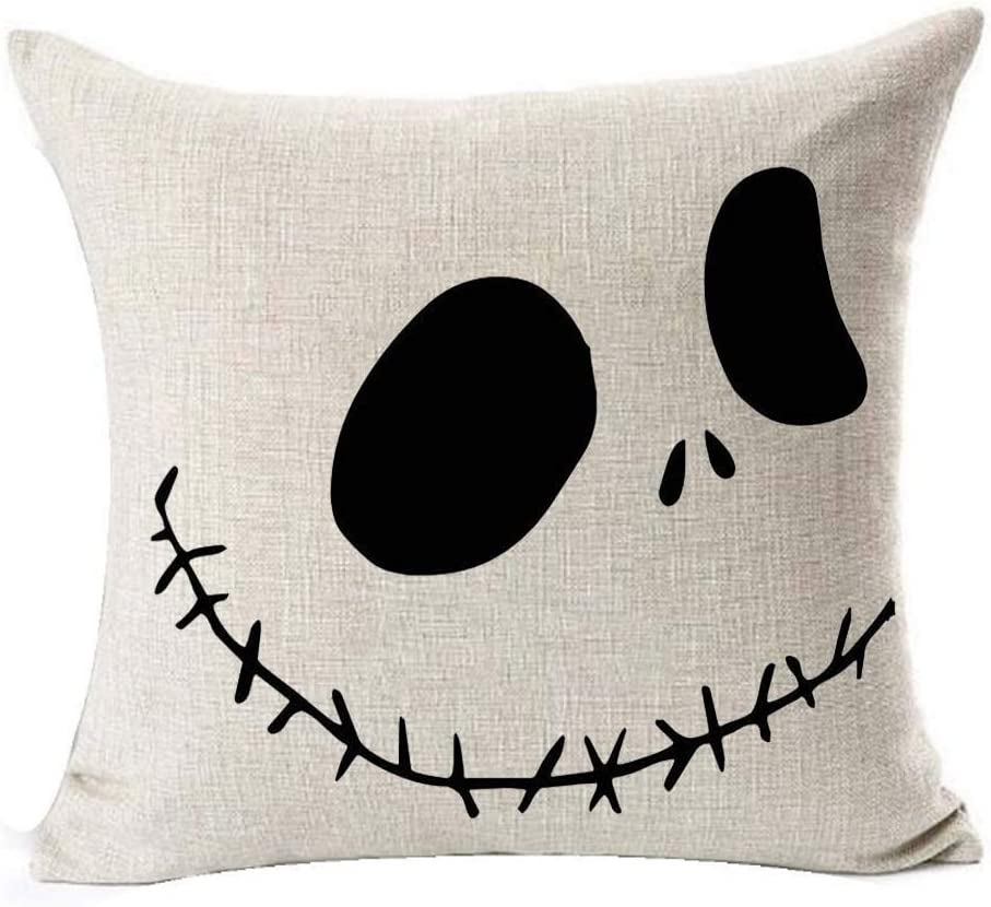 "LYNZYM Nightmare Before Christmas Cotton Linen Square Throw Pillow Case Decorative Cushion Cover Pillowcover for Sofa 18""X 18"" Halloween Throw Pillow Covers (3)"