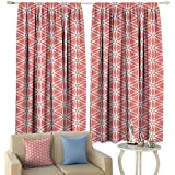 Coral Decor Thermal Curtains Simplistic Linear Sunflower Tied Bound Crochet Damask Floral Lace Tiles Motif Privacy Protection