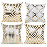 JOTOM Throw Pillow Covers, Gold Hot Stamping Soft Decorative Cushion Cover for Couch Sofa Bed 18 x 18 inches, Set of 4 (Geometry 1)