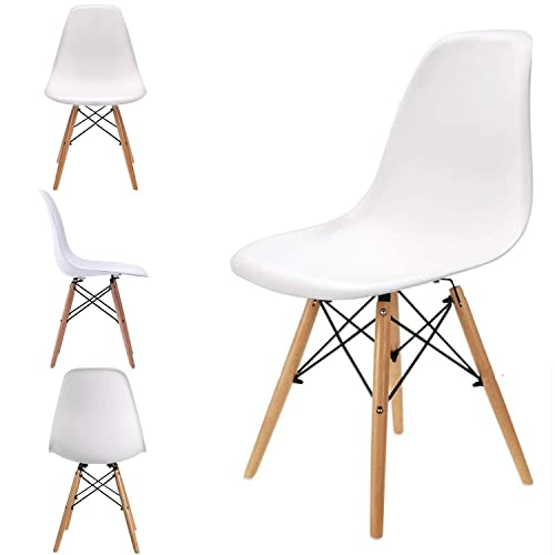 Set of 4 Retro Plastic Dining Chairs Mid Century Modern Style Dining Chair with Natural Solid Wooden Legs,Armless Chairs for for Kitchen, Dining, Bedroom, Living Room White