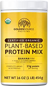 GoldenSource Proteins, Organic Plant-Based Protein, Banana, 1 Pound, 18 Servings, 22 Vitamins & Minerals, Complete Amino Acid Profile, Free from Gluten, Soy, Dairy & Peanut, no Added Sugar