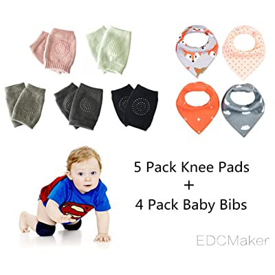 5 Pairs Breathable Adjustable Baby Elbow Knee Pads(Crawling Anti-Slip ) + 4 Pack Baby Bibs,Safety Protector for Babies by EDCMaker