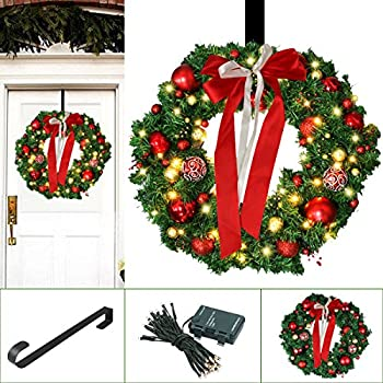 Amazon 24 inch christmas wreath with led lights christmas christmas wreath large christmas wreath with led lights outdoor christmas wreath with wreath hanger christmas decoration ornaments 24 xmas garland aloadofball Images