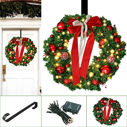 24' Led Lighted Wreath - Christmas Wreath, Large Christmas Wreath with Led Lights - Pre-lit Xmas Door Wreath - Artificial Pine Garland - Decorated Christmas Wreath - 24'' Xmas Garland, Battery Operated Over 200 Hours