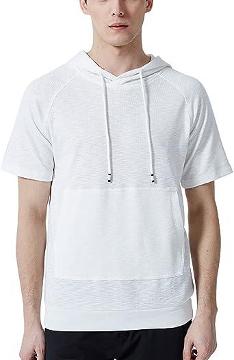 GUOCU Hombre De Manga Cortas con Capucha Sudadera Hombres Camisa Camiseta Sudadera Capucha Casual Mangas Cortas: Amazon.es: Ropa y accesorios