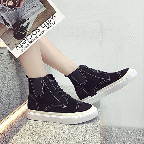 ZHZNVX Toe HSXZ Round Casual Brown Winter Heel Boots Boots Women's Black Black Combat Boots PU Calf Comfort Boots Fall Shoes Fashion Flat for Mid qrwZpq