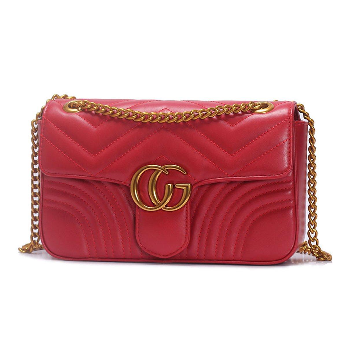 2018 neue Damen TaschePU-Leder-UmhängetascheFashion Velvet Cloth Bag Kette gesteppte Schultertasche Damen Umhängetasche (23x15x7cm, Rot) liyuanbaihuo