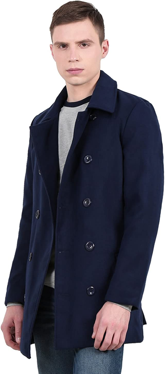 uxcell Men Notched Lapel Collar Double Breasted Pea Coat