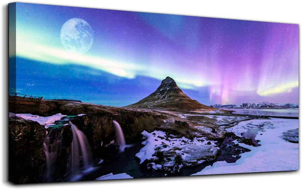 Canvas Wall Art for living room Aurora purple Scenery Painting Large wall Decor Posters Canvas Prints Artwork and Framed Canvas Paintings Ready to Hang for bedroom Home Decor office Wall Decoration