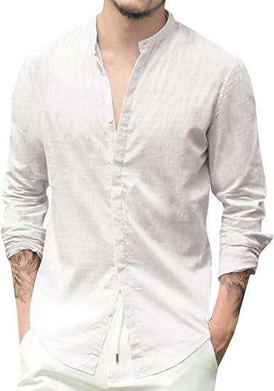 Junkai Camisa de Mangas largas para Hombres Camisa de Corte Redondo Formal Informal con Mangas Cortas para Hombre: Amazon.es: Ropa y accesorios