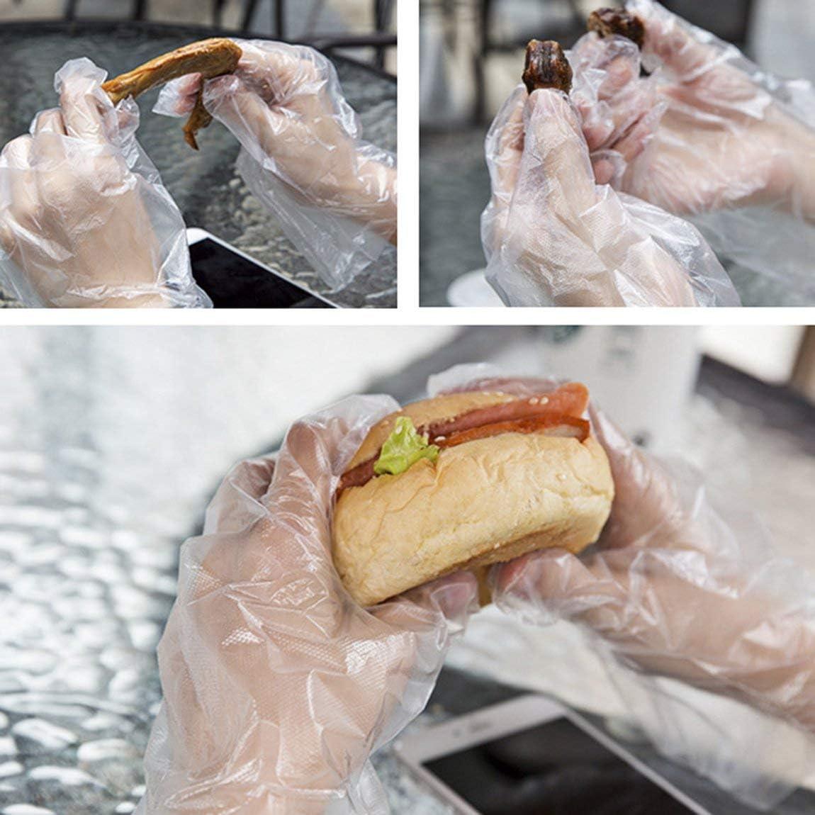 SeniorMar Gant jetable /épais Boulangerie Transparente Nettoyage Sant/é PE Film respectueux de lenvironnement 100 pi/èces Gant en Plastique