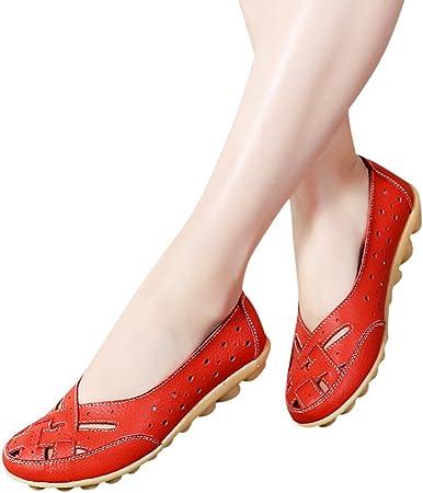 BHYDRY Zapatos de Mujer Damas Planas Sandalias Tobillo de Cuero Zapatilla Informal Zapatos Suaves