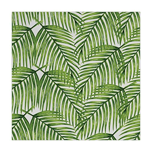 (iPrint Satin Square Tablecloth,Plant,Fascinating Leaves on Branches Exotic Setting Floral Arrangement Jungle Themed Greens,Fern Green,Dining Room Kitchen Table Cloth)