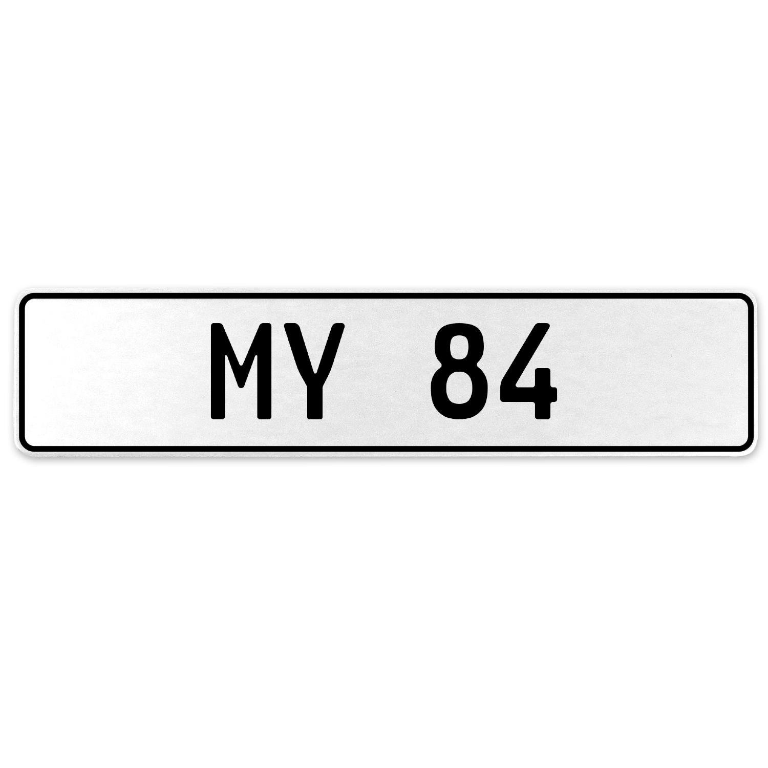 Vintage Parts 555176 My 84 White Stamped Aluminum European License Plate