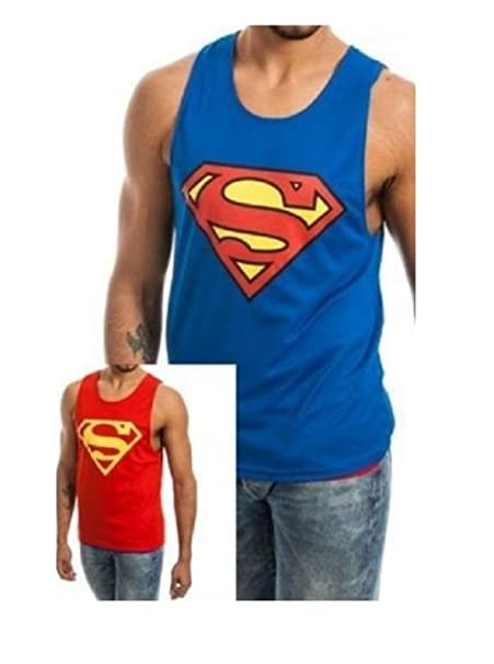 2efa6592f82576 Image Unavailable. Image not available for. Color  Bioworld Superman  Reversible Blue and Red Mesh Tank Top Size  Small