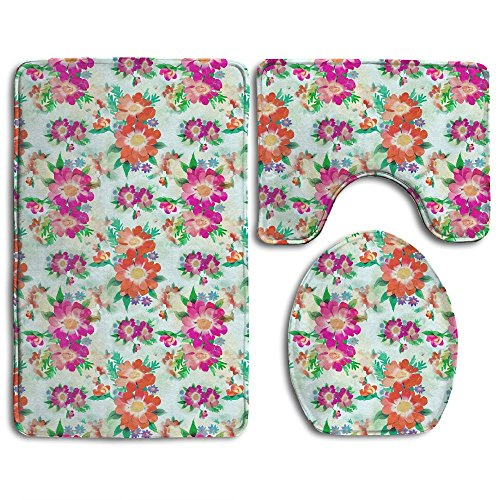Novel Anemone Flowers Prints 3 Piece Non-Slip Bathroom Rugs Set Living Room Anti-skid Pads Bath Mat + Contour + Toilet Lid Cover (Anemone Rug)