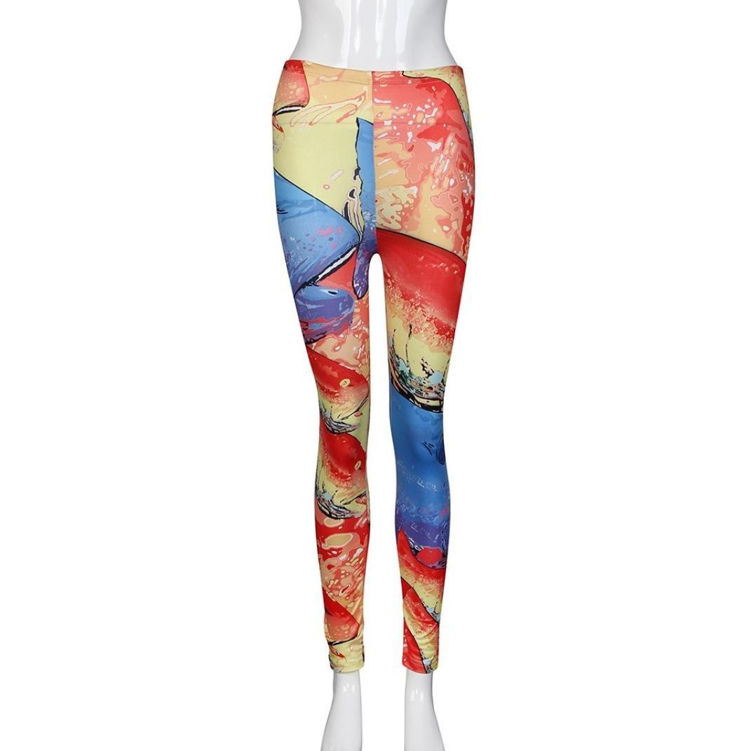 Sunfei Women Stretchy Print Leggings Casual Skinny Leggings Slim Pencil Pants Trousers