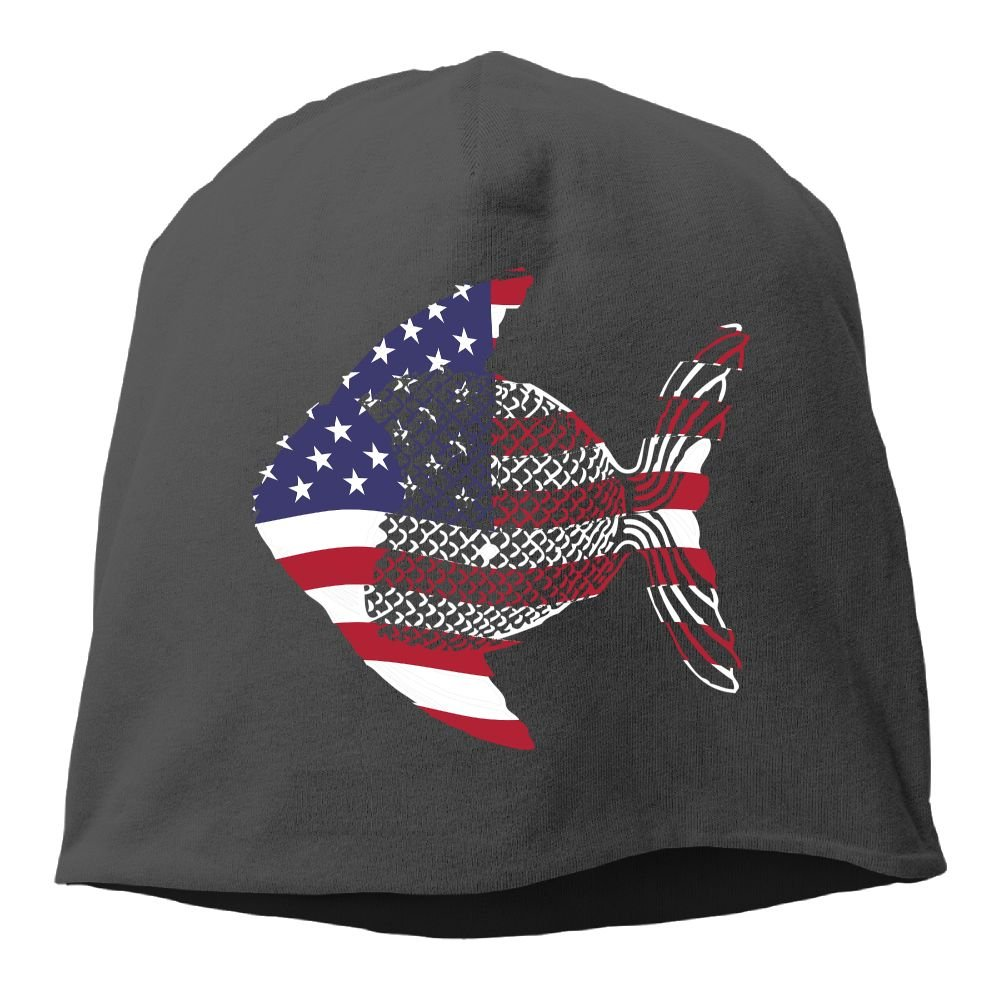 Janeither Headscarf Fishing American Flag Hip-Hop Knitted Hat for Mens Womens Fashion Beanie Cap