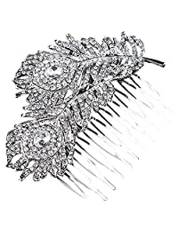Crystal Bridal Wedding Hair Comb Peacock Feather Shaped Elegant Headpiece Jewelery