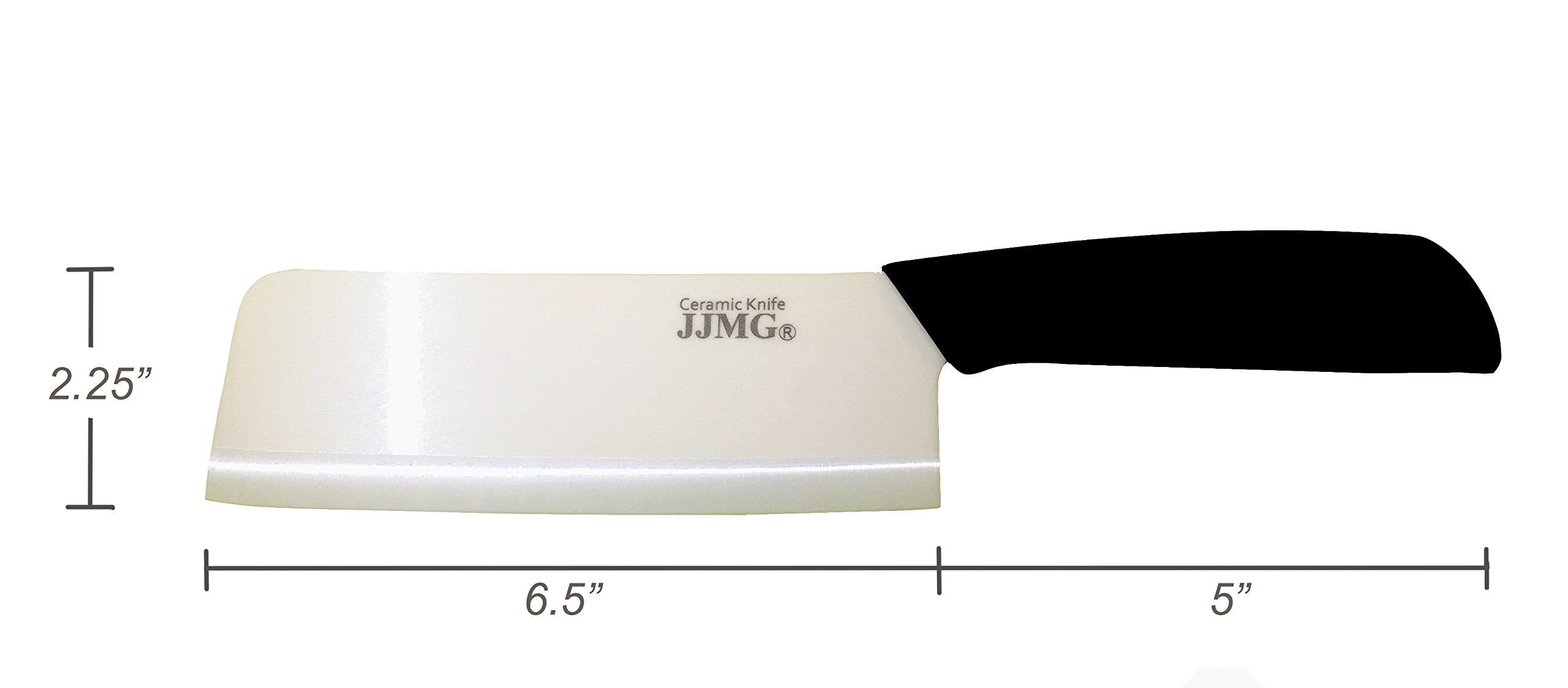 JJMG Ceramic Meat Cleaver Knife Sharp Durable Twice Thicker than Leading Brands non-slip grip Handle Zirconium Blade Cut Slice Dice Steak Pork Chicken Cheese Rust Wear Resistance 5 SHARP & DURABLE LONG LASTING SHARPNESS: Perfect for Cutting Slicing Mincing & Dicing Meat Cheese and Vegetables. Made of High Quality Ceramic, 60 times more Wear-Resistant than Metal knifes. Easy to Maintain, Holds its Sharp Edge. The knifes blades are made by Zirconium, only diamonds are harder, and stays sharp 15 times longer. NO RUST & BPA-FREE: Rust Resistant, Anti-acid and Alkali Material, Non-toxic, No Contamination, No Metal smell, Easy to Use. will retain its original sharpness up to 15 times longer than steel blades. You will never need sharpening any more! NO OXIDATION: Keep your vegetables free from oxidation when cutting with these ceramic knifes. Keep your vegetables meat & food fresh for a longer period of time.