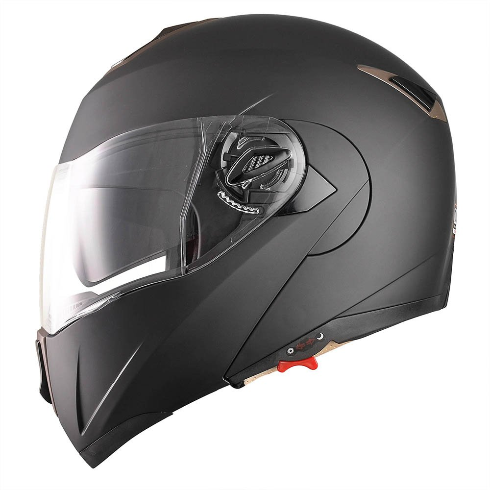 Amazon.com: Yescom Full Face Flip up Modular Motorcycle Helmet DOT Approved Dual Visor Motocross Matt Black M: Automotive