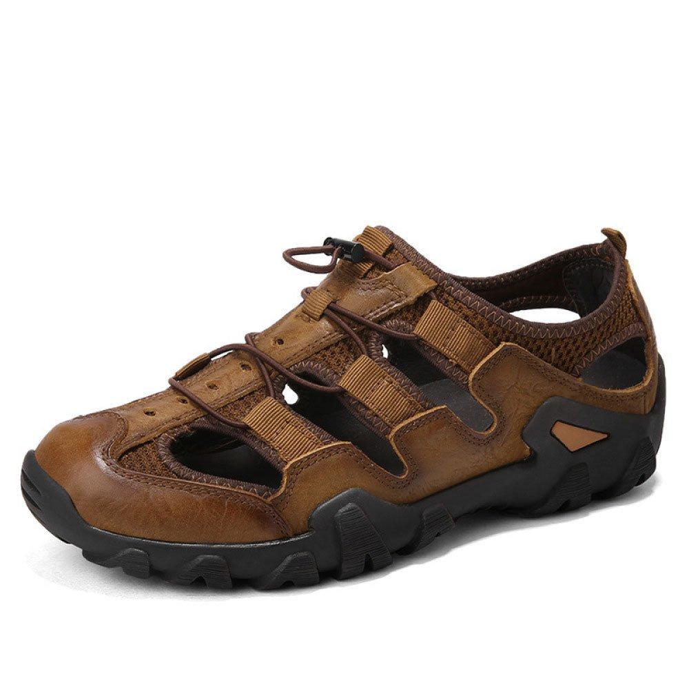 Sandalias De Los Hombres De Moda Zapatos De Playa Respirables Transpirables Absorbentes De Sudor De Verano Al Aire Libre Senderismo Capa Superior De Cuero Zapatos De Los Hombres 42 EU|Brown