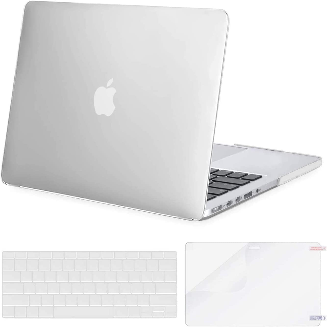 MOSISO Case Only Compatible with Older Version MacBook Pro Retina 13 inch (Models: A1502 & A1425) (Release 2015 - end 2012), Plastic Hard Shell Case & Keyboard Cover & Screen Protector, Frost