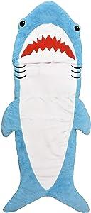 "iscream Shark Buddy 74.5"" x 31"" Faux Sherpa-Lined Plush Fleece Zippered Sleeping Bag"