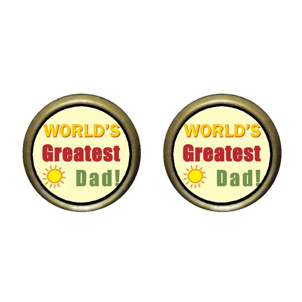 GiftJewelryShop Bronze Retro Style Worlds Greatest Dad Photo Stud Earrings 12mm Diameter
