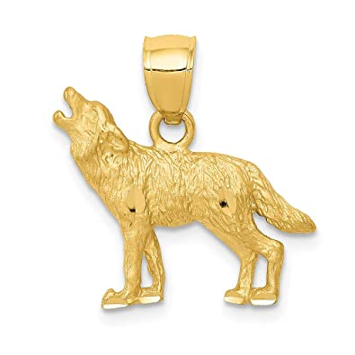 5691dbf82 ICE CARATS 14kt Yellow Gold Wolf Pendant Charm Necklace Animal Wild Fine  Jewelry Ideal Gifts For Women Gift Set From Heart: ICE CARATS:  Amazon.co.uk: ...