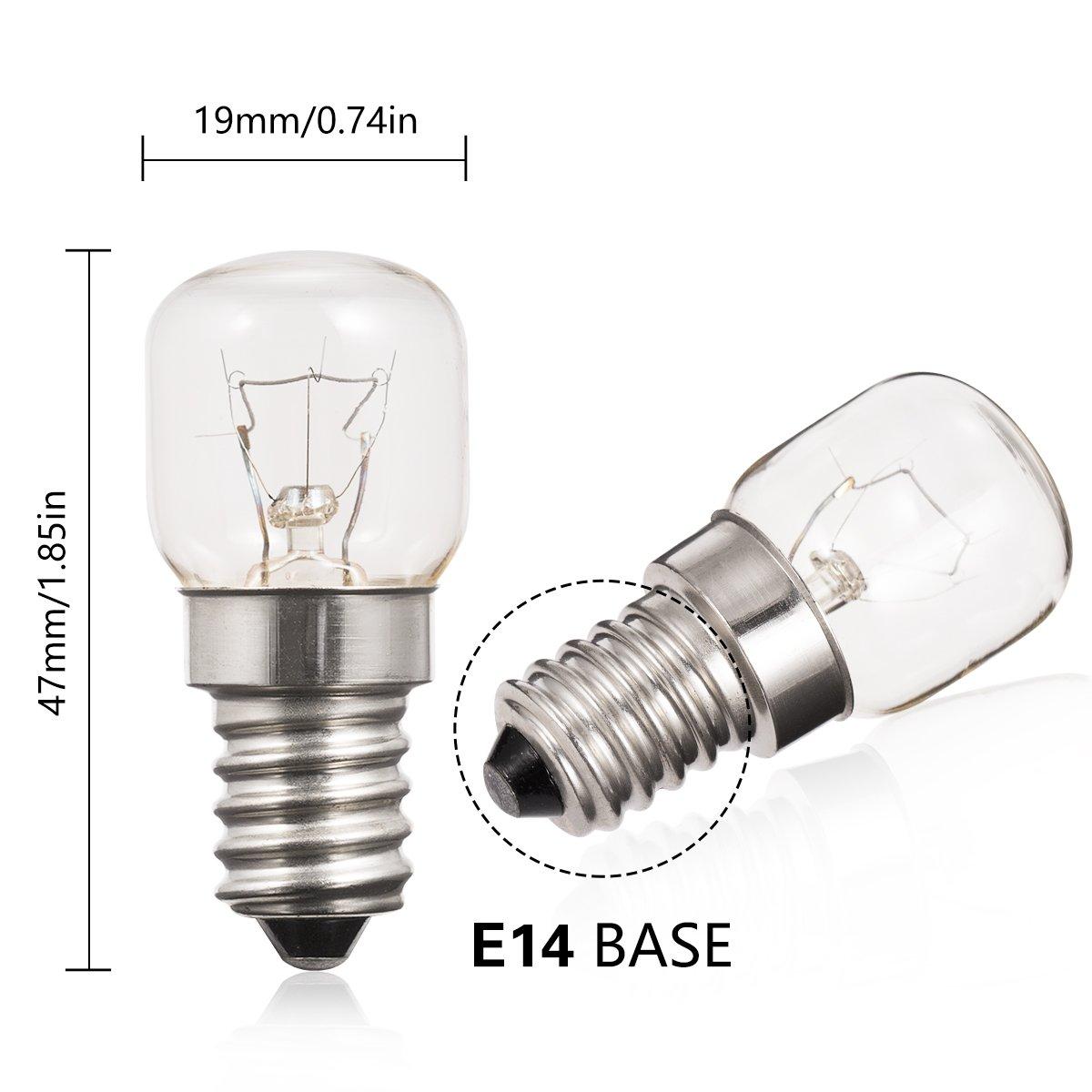 300/° Hitzebest/ändig 2 x 40w Ofenlampe f/ür den Gebrauch in einem Neff Ofen E14 Kleiner Edison Sockel Ofenbirne SES 240v