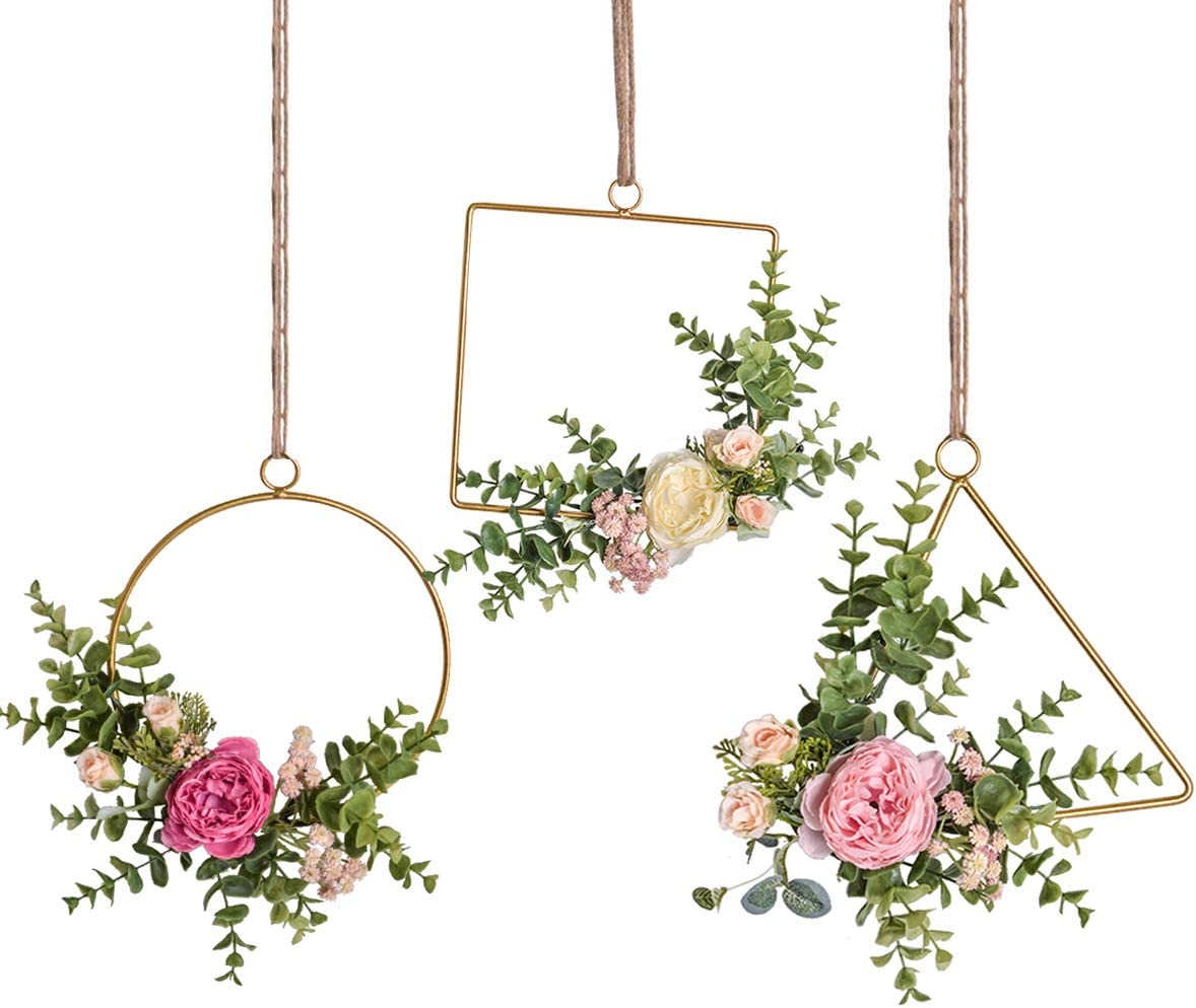 Pauwer Floral Hoop Wreath Set of 3 Handcrafted Artificial Rose Flower and Eucalyptus Greenery Leaves Metal Hanging Hoop Wreath for Wedding Backdrop Nursery Decor