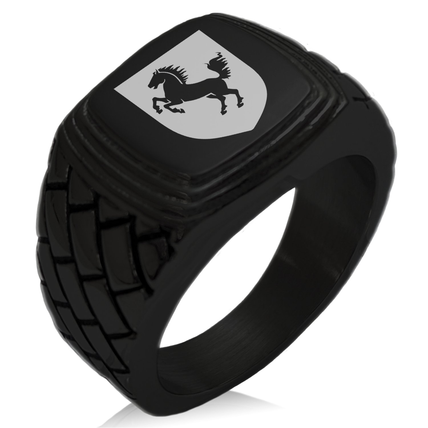 Tioneer Black IP Plated Stainless Steel Horse Battle Coat of Arms Shield Engraved Geometric Pattern Step-Down Biker Style Polished Ring, Size 13