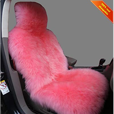 Sisha Winter Warm Authentic Australia Sheepskin Car Seat Cover Luxury Long Wool Front Seat Cover Fits Most Car, Truck, SUV, or Van (Pink): Automotive