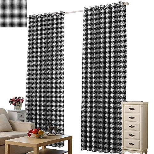 - Beihai1Sun Digital Print Curtain for Decoration Black and Grey Grid of Pinwheel Style Shapes and Circles Abstract Geometric Pattern Black Grey White Living Room Wedding Bedroom W72 x H63
