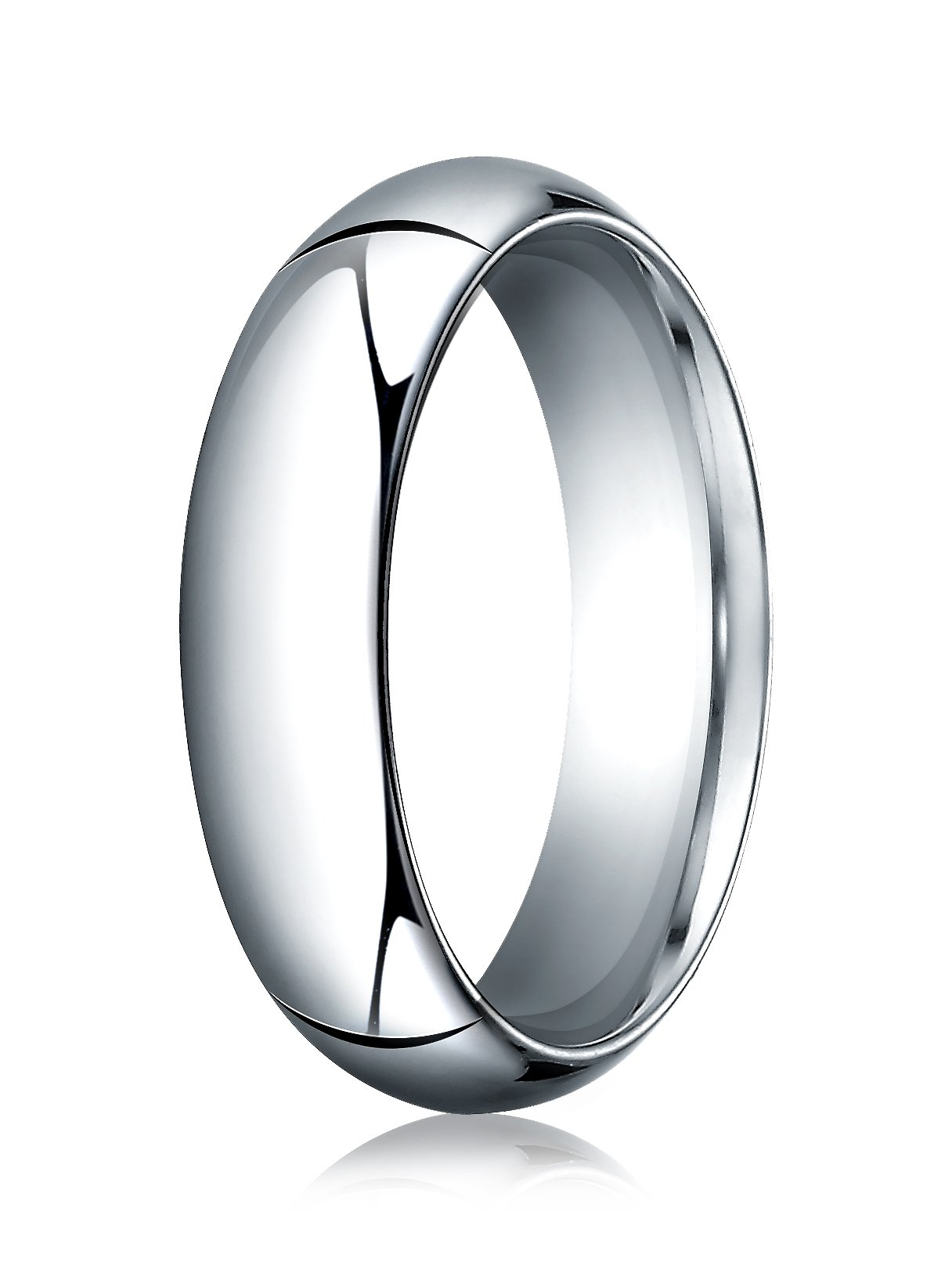Womens 14K White Gold, 6.0mm High Dome Heavy Comfort-Fit Ring (sz 9.5)