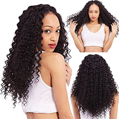 COLODO Deep Curly Synthetic Lace Front Wigs Heat Resistant Synthetic Fiber Black Color For Women 24 (Wigs For Black Women)