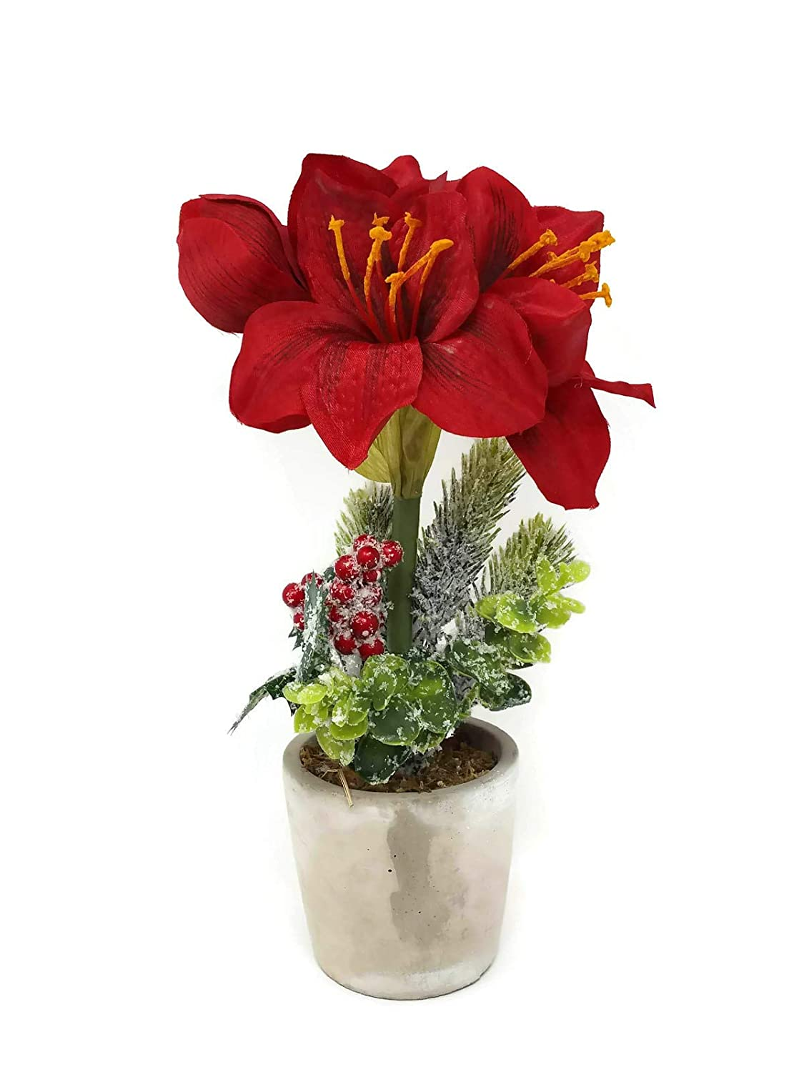 Sincere Floral Artificial Amaryllis Christmas Foliage in Pot x 28cm (Red)