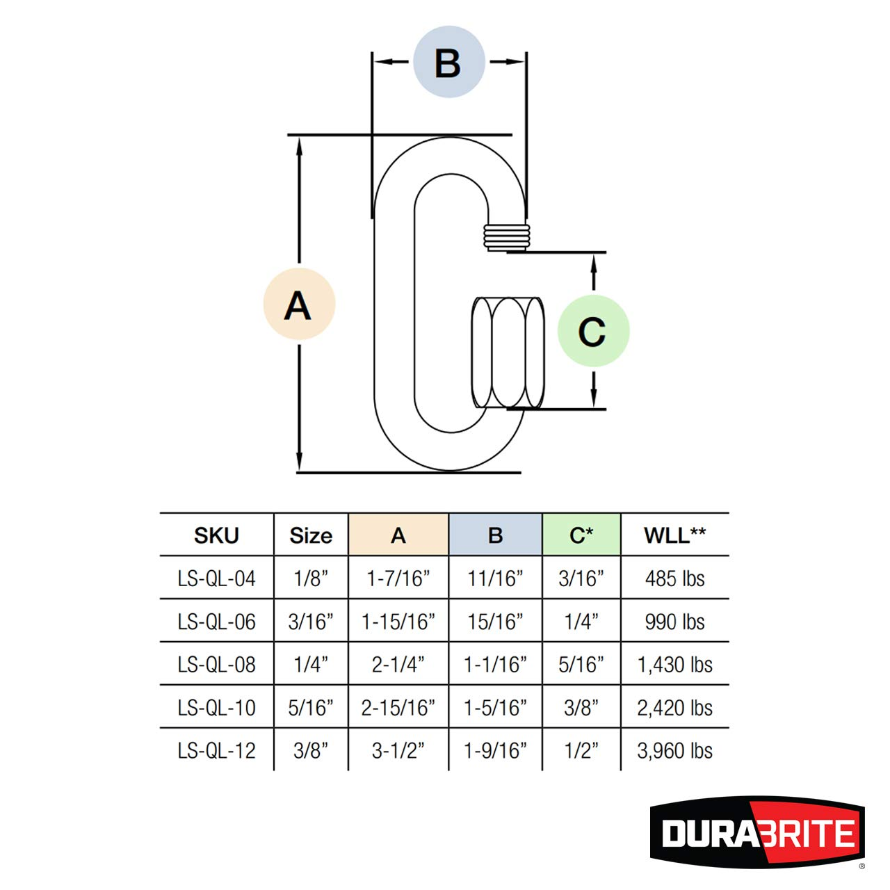 DuraBrite 316 Stainless Steel Oval Quick Links 1/4'' - Chain Connectors, Marine Grade (Pack of 25)