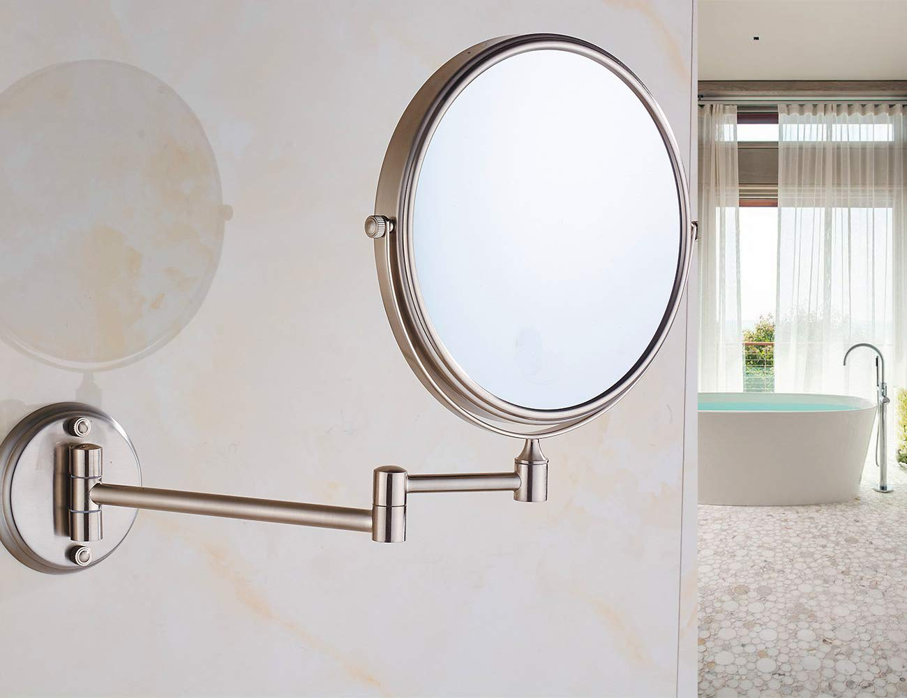 8in,10x 8in Cavoli 8 Inch Two-Sided Swivel Wall Mounted Makeup Mirror with 10x Magnification,Glass /& Metal,4 1//2 Circle Base Nickel Finish 4 1//2 Circle Base Nickel Finish