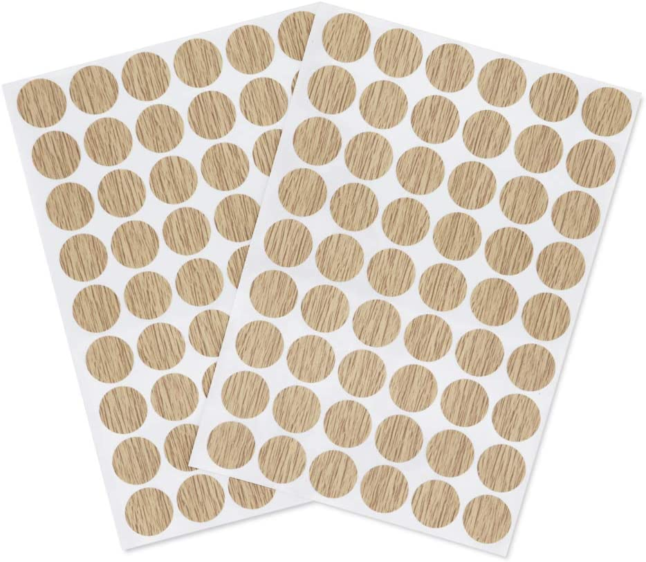 VictorsHome Self-Adhesive Screw Hole Stickers PVC Cover Caps Dustproof for Wooden Furniture Cabinet 21mm 2 Sheets/108 Pcs Light Oak