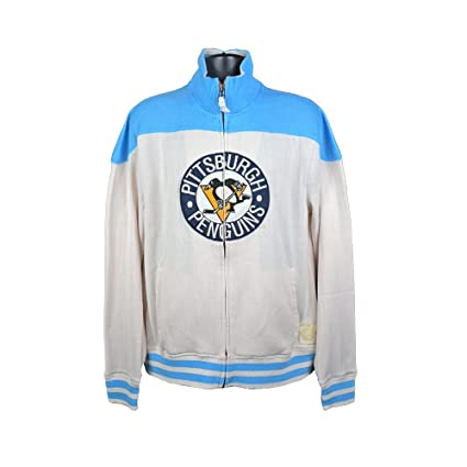 Pittsburgh Penguins Reebok Men s White Blue Vintage Full-Zip Track Jacket -  Small 804dd6875
