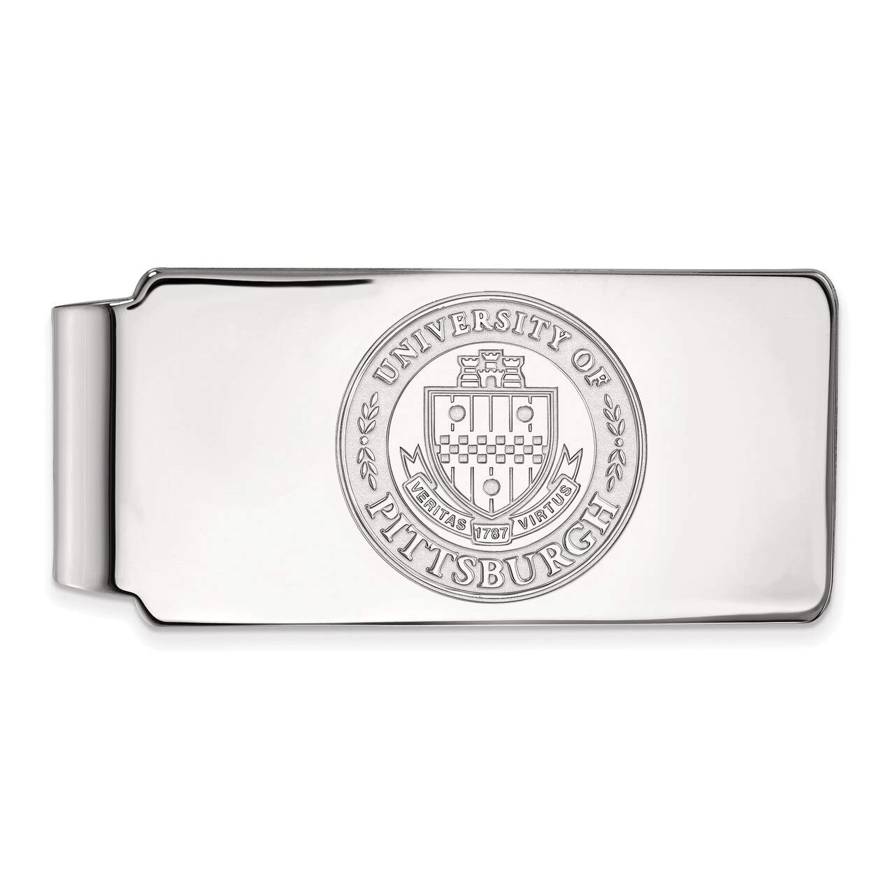Lex /& Lu LogoArt Sterling Silver University of Pittsburgh Money Clip Crest