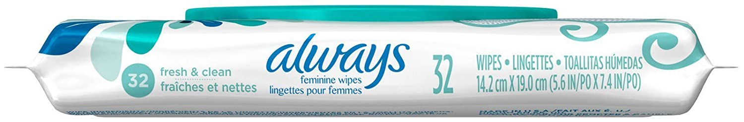 Amazon.com: Always Feminine Wipes Fresh & Clean Scent 32 Count, 32 Count Pack Of 1): Health & Personal Care