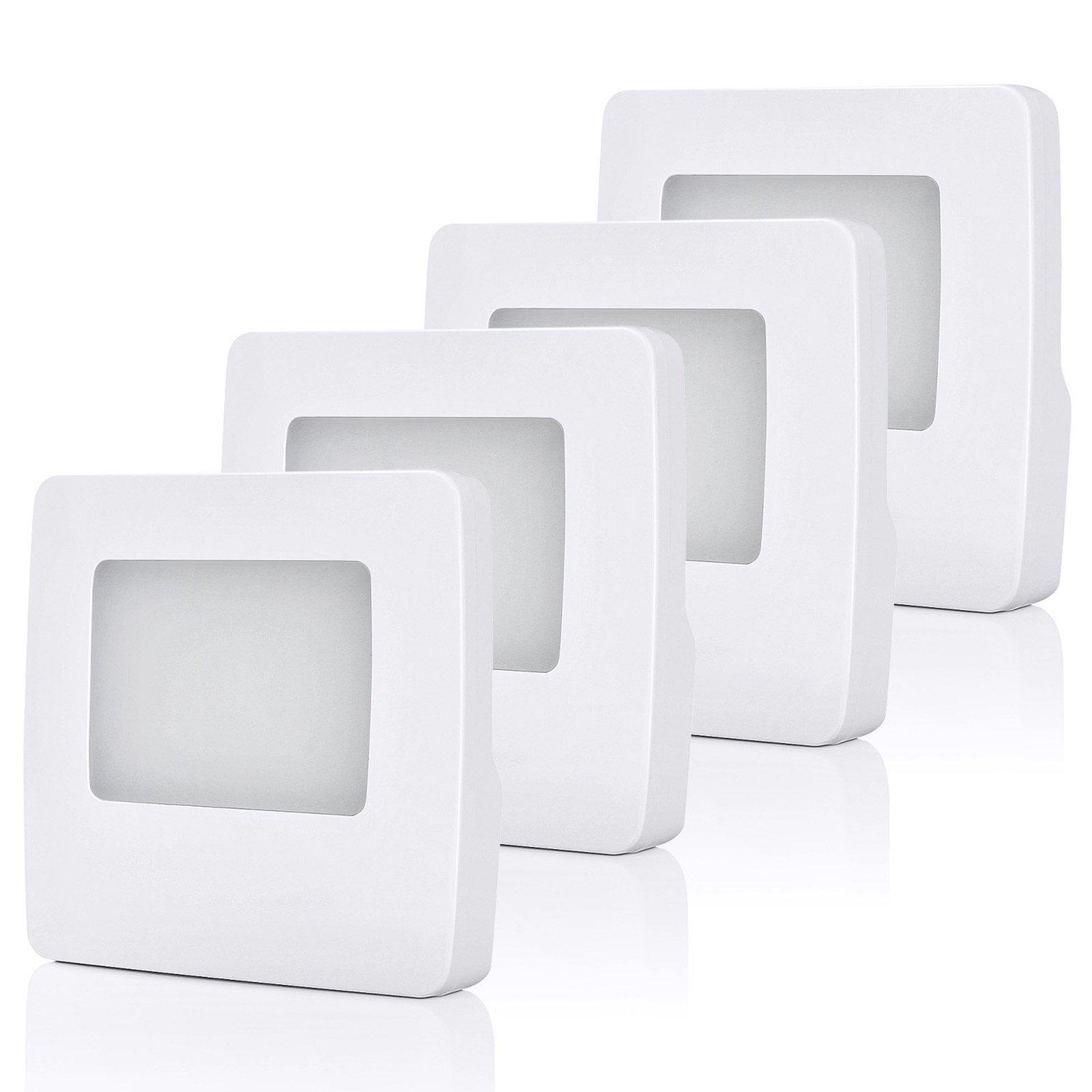 DEWENWILS Plug in LED Night Light, Nightlight with Dusk to Dawn Sensor, Warm White 3000K for Hallway Bathroom Bedroom Kids Baby Nursery, Pack of 4 by DEWENWILS